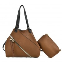 K0016 Camel - Patchwork Tote Bag With Small Clutch Bag