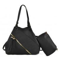 K0016 Black - Patchwork Tote Bag With Small Clutch Bag