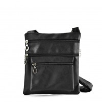 QQ2173 Black - Fashion Zip Detail Cross Body Bag