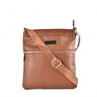 QQ2175 Brown - Fashion Zip Detail Cross Body Bag
