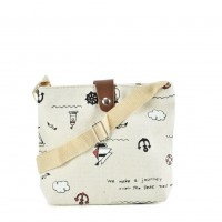 QQ2210 White - Cartoon Printing Cross body Bag for Girl