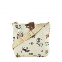 QQ2211 White - Cartoon Printing Cross body Bag for Girl