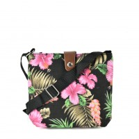 QQ2213 Black - Floral Printing Cross body Bag for Girl