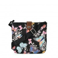 QQ2215 Black - Butterfly Printing Cross body Bag for Girl