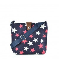 QQ2216 Navy - Star Printing Cross body Bag for Girl