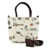 QQ2220 White - Cartoon Shopping Tote Bag