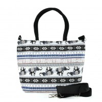 QQ2223 Black -Horse Printing Shopping Tote Bag