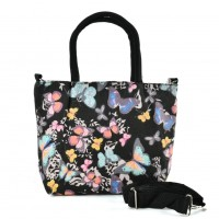 QQ2224 Black -Butterfly Printing Shopping Tote Bag