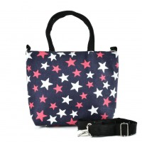 QQ2225 Navy -Star Printing Shopping Tote Bag
