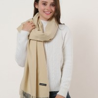 SF1159 Khaki - Pure Color Scarf With Tassels Ends