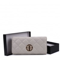 VKP1563 Grey - Quilted Purse With Metal Detail